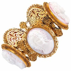 "Ornate Pink Shell Cameo Suite with Golden Filigree, Signed ""Quaglia & Forte"""