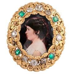 Victorian Miniature Portrait with Emeralds and Diamonds