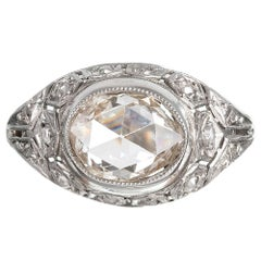 Art Deco Style 1.35 Carat Rose Cut Diamond Filigree Ring