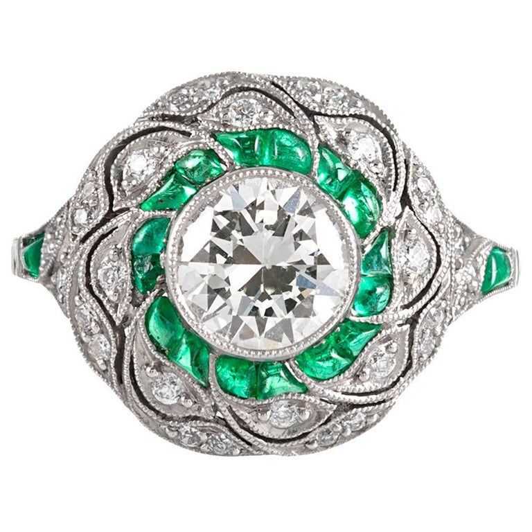Handmade Art Deco Style .96 Carat Diamond and Emerald Ring For Sale