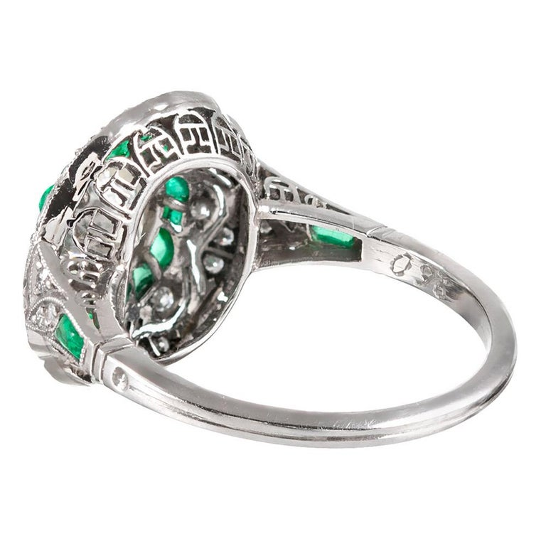 Handmade Art Deco Style .96 Carat Diamond and Emerald Ring In Good Condition For Sale In Carmel-by-the-Sea, CA