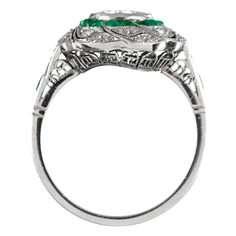 Women's Handmade Art Deco Style .96 Carat Diamond and Emerald Ring For Sale