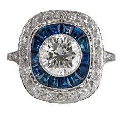Art Deco Style 1.50 Carat Center Diamond and Sapphire Ring