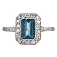 Art Deco Style 1.20 Carat Aquamarine and Sapphire Ring