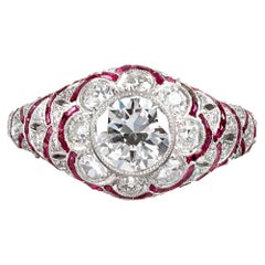 Handmade Art Deco Style Flower Motif Diamond and Ruby Ring