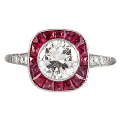 Art Deco Style 1.12 Carat Diamond and Ruby Ring