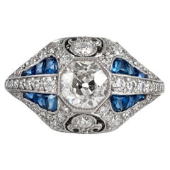 Handmade Art Deco Style .93 Carat Diamond and Sapphire Ring
