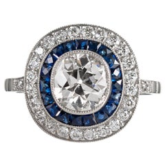 Art Deco Style 1.31 Carat Old European Cut Centre Diamond and Sapphire Ring