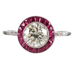 Art Deco Style 1.10 Carat Diamond and Ruby Ring