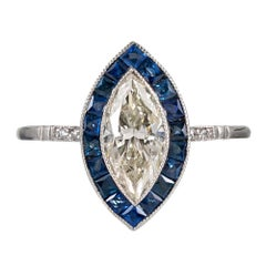 Art Deco Style 1.16 Carat Marquis Brilliant Diamond and Sapphire Ring