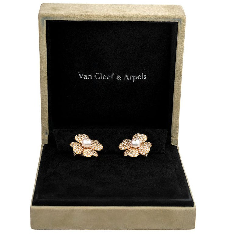 "Women's Diamond and Pearl Flower Earrings, Signed ""Van Cleef & Arpels"" For Sale"