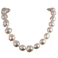 Baroque Pearl Strand with Diamond Clasp, Signed Angela Cummings