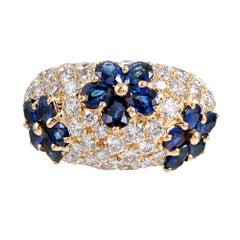 Sapphire and Diamond Flower Motif Dome Ring, Signed Graff