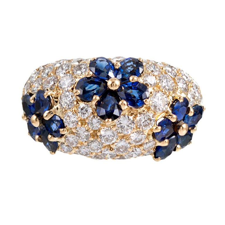 Sapphire and Diamond Flower Motif Dome Ring, Signed Graff For Sale