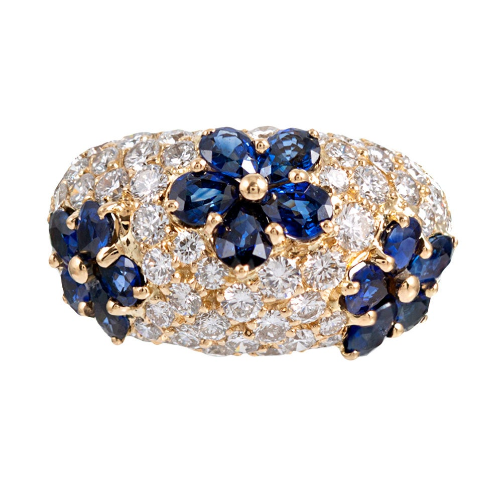Graff Sapphire and Diamond Flower Motif Dome Ring