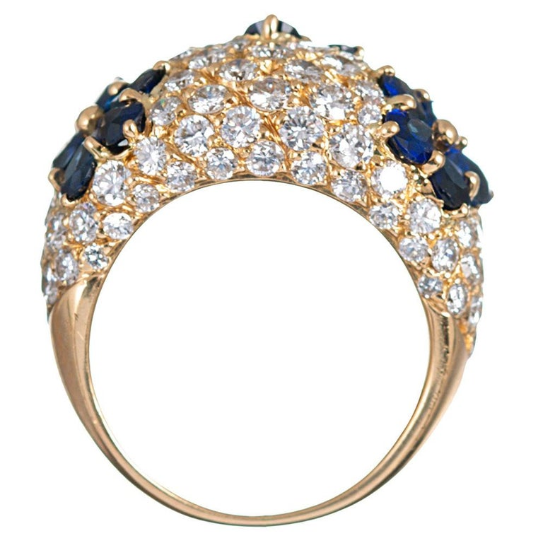 Sapphire and Diamond Flower Motif Dome Ring, Signed Graff For Sale 1