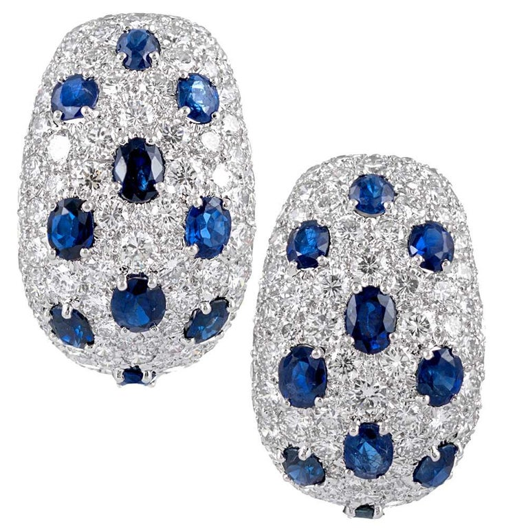 Important Sapphire and Diamond Hoop Earrings, Signed David Webb For Sale