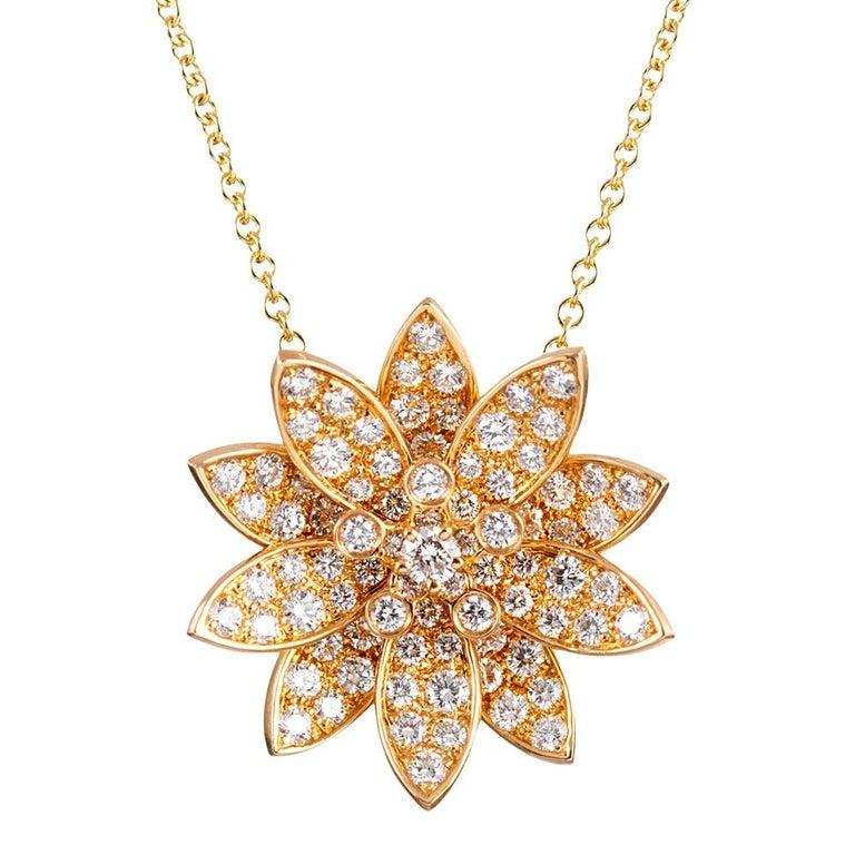 "Diamond ""Lotus"" Enhancer Pendant, Signed ""Van Cleef & Arpels"" For Sale"
