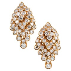 Navette Shaped Diamond Tremblant Earrings, Signed Van Cleef & Arpels