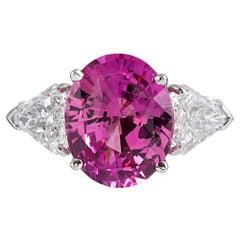 5.54 Carat Intense Pink Sapphire and Shield Diamond Ring