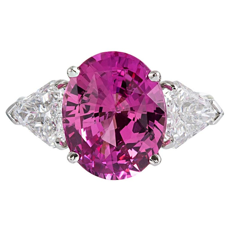 5.54 Carat Intense Pink Sapphire and Shield Diamond Ring For Sale