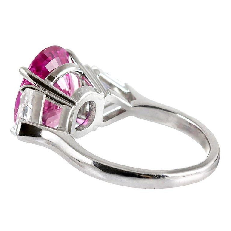 5.54 Carat Intense Pink Sapphire and Shield Diamond Ring In Good Condition For Sale In Carmel-by-the-Sea, CA
