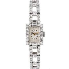 "Art Deco Platinum and Diamond Lady's Wristwatch, Signed ""Hamilton"""
