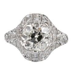 Art Deco 3.03 Carat Center Diamond Ring