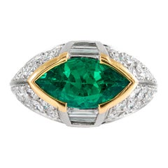 Contemporary Handmade Marquis Emerald and Diamond Ring