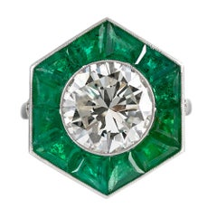Art Deco Style 3.24 Carat Diamond Ring with Emerald Trim