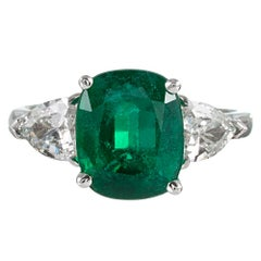 3.16 Carat Cushion Emerald and Shield Diamond Ring