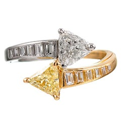 "Fancy Yellow and White Diamond ""Toi et Moi"" Bypass Ring"