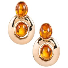 Midcentury Op Art Citrine Doorknocker Earrings
