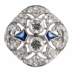 Art Deco Diamond and Sapphire Navette-Shaped Ring