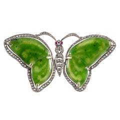 Antique Jade and Diamond Butterfly Pin or Pendant