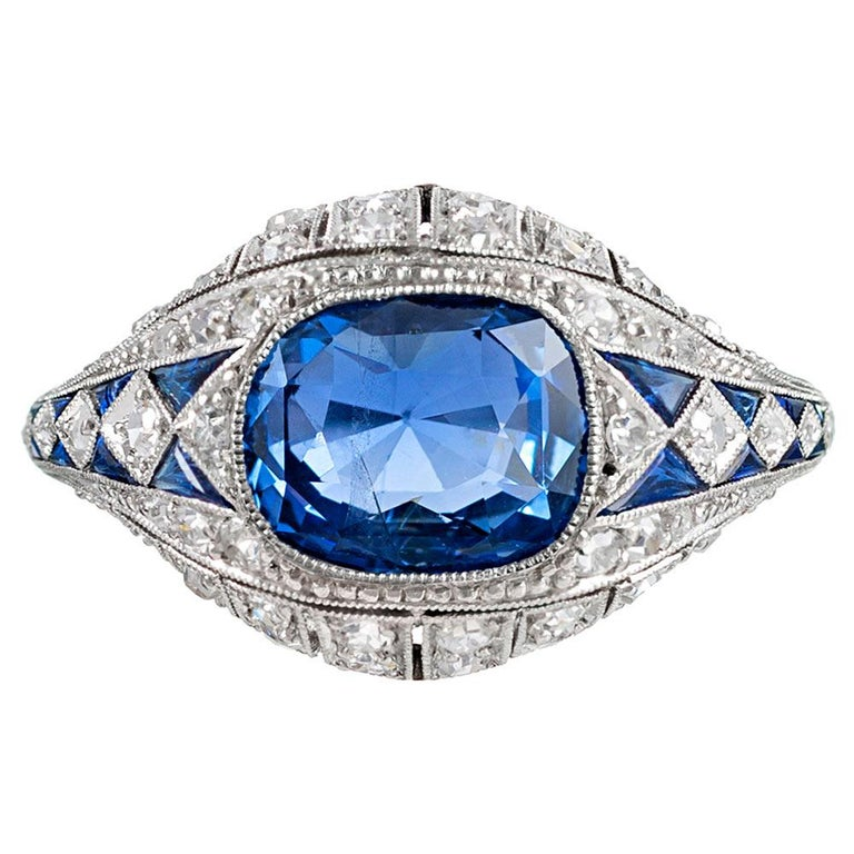 3.22 Carat No Heat Ceylon Sapphire and Diamond Ring For Sale