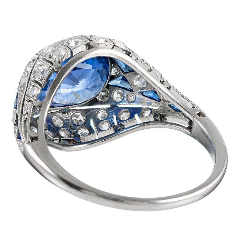 3.22 Carat No Heat Ceylon Sapphire and Diamond Ring In Good Condition For Sale In Carmel-by-the-Sea, CA