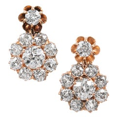 Rose Gold Victorian Old European Cut Diamond Cluster Earrings