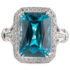 10.90 Carat Blue Zircon and Diamond Ring, Signed Simon G