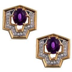 1980s Geometric Amethyst Diamond Gold Earrings