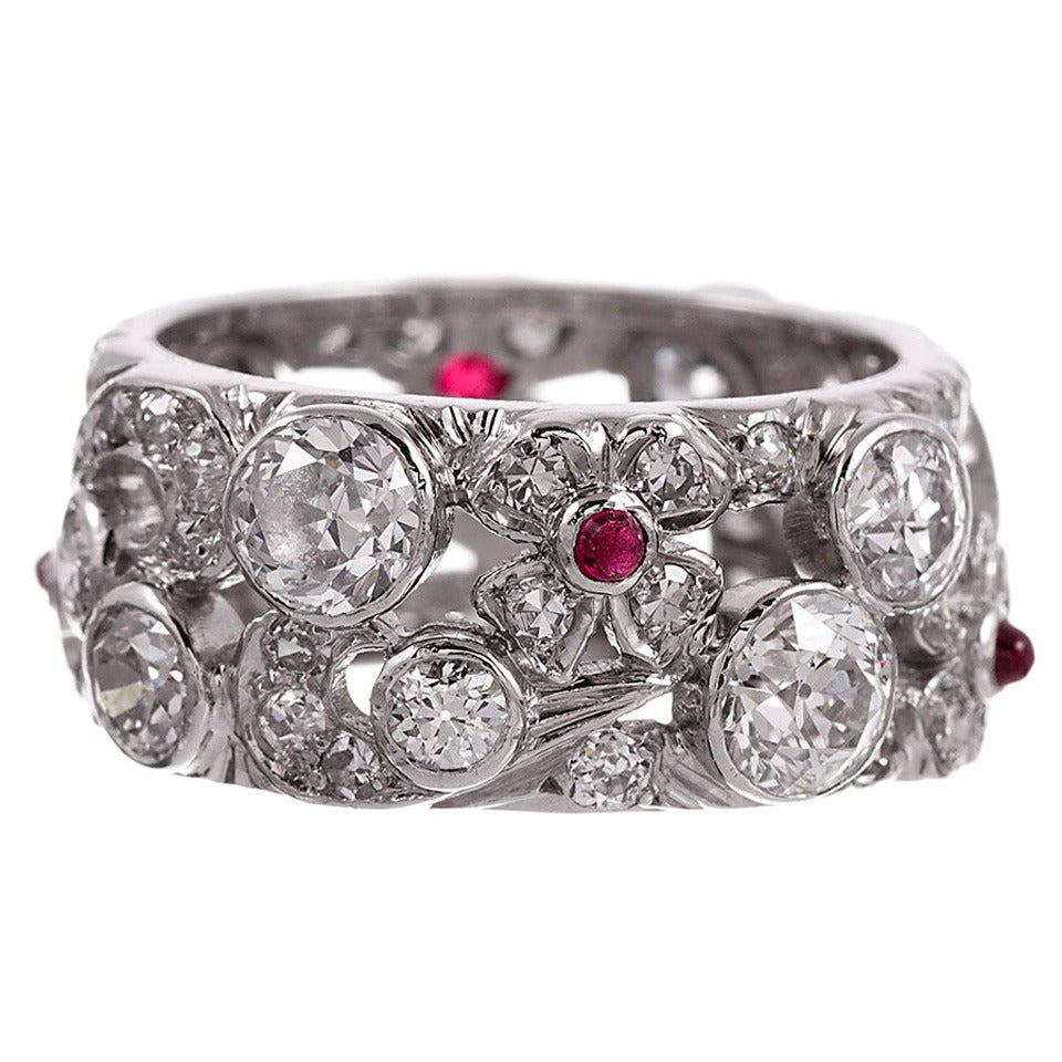 1930s deco ruby platinum eternity band at 1stdibs