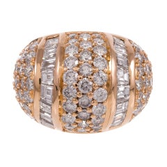 Neiman Marcus Round and Baguette Diamond Gold Dome Ring