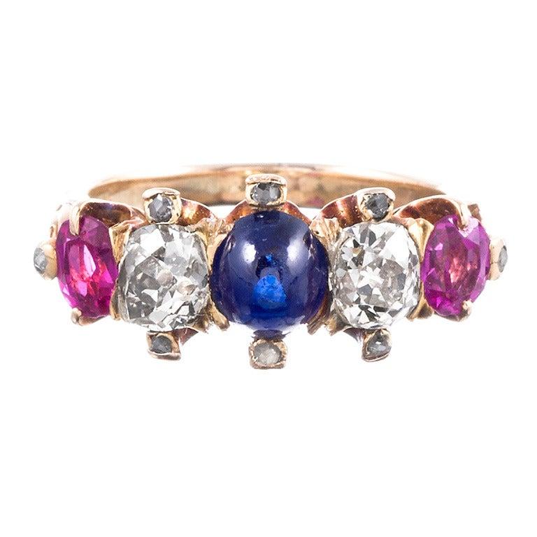 Victorian Americana Gemstone Gold Ring