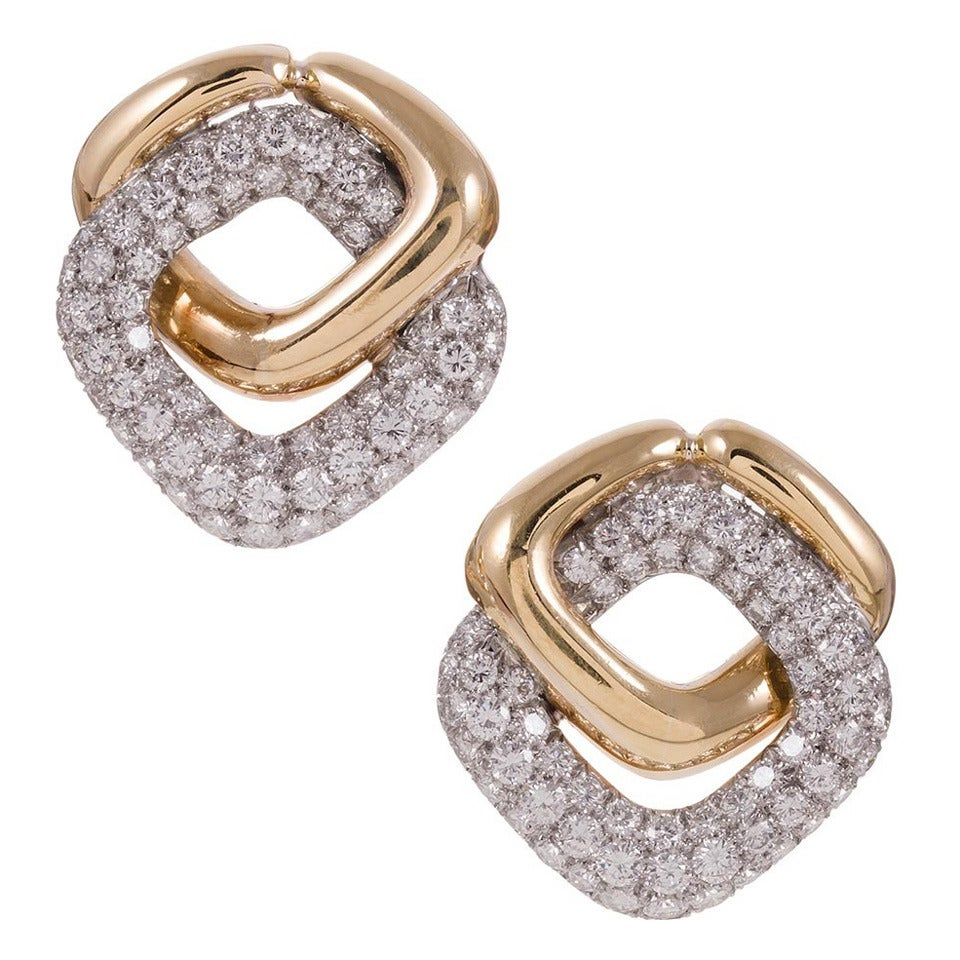 5.10 Carat Diamond Pave Gold Knot Earrings