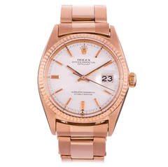 Rolex Rose Gold Datejust Pie Pan Dial Oyster Chronometer Wristwatch Ref 1601
