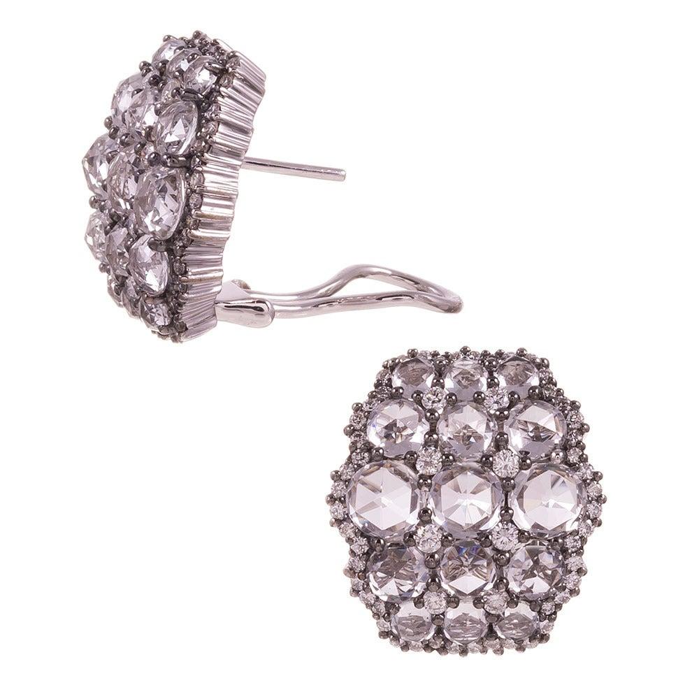 White Topaz Diamond Gold Cluster Earrings 2