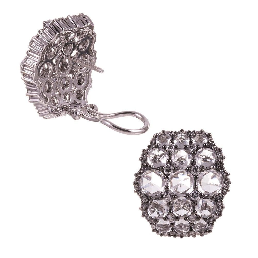 White Topaz Diamond Gold Cluster Earrings 3