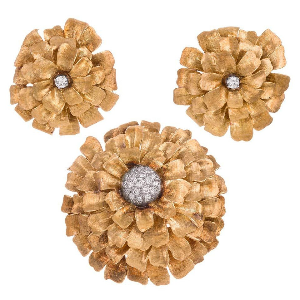 Diamond Yellow Gold Flower Brooch and Ear Clips