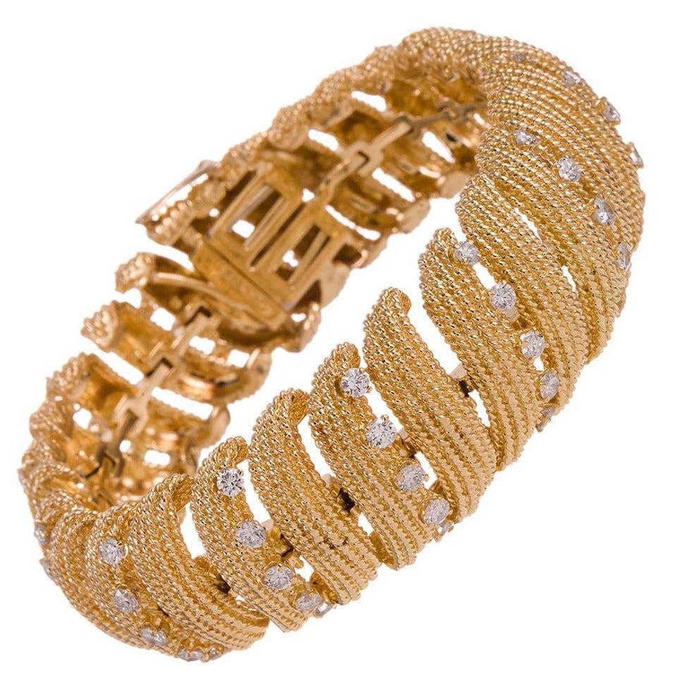 David Webb Diamond Gold Ribbon Bracelet