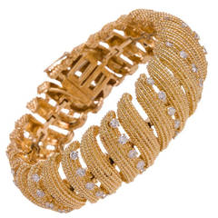 David Webb Diamond Gold Ribbon Bracelet